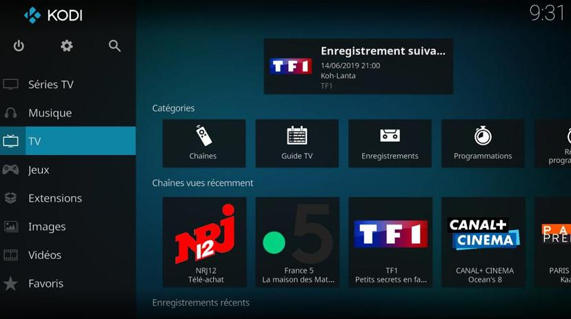 Interfaccia Media Center KODI